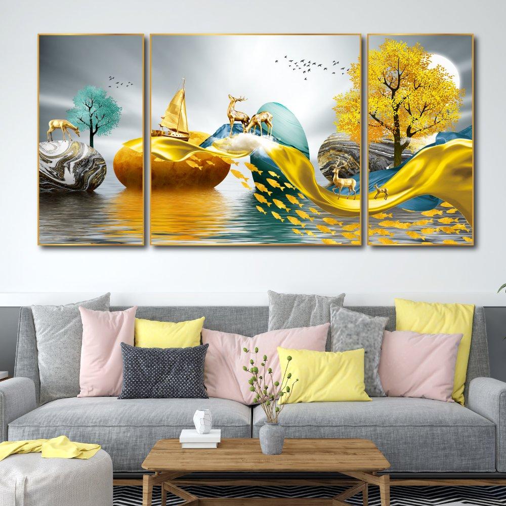 Tranh treo tường nai vàng nghệ thuật