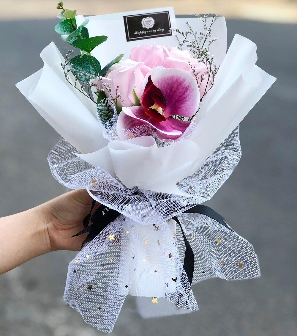 Hộp hoa sáp thơm họa tiết vân đá
