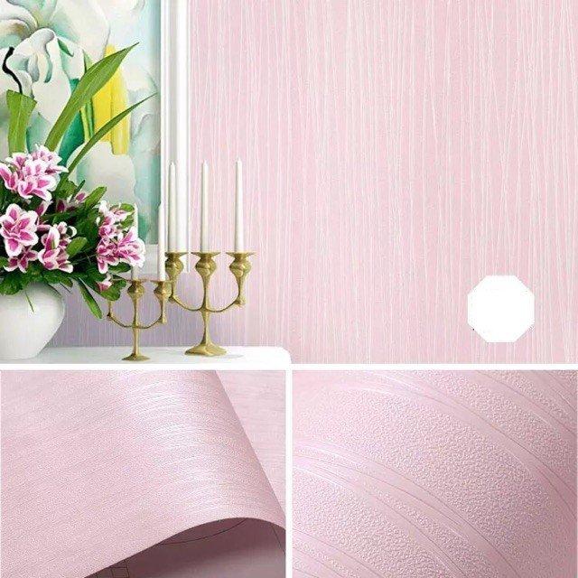 10m Giấy dán tường cuộn chỉ màu hồng khổ 0,45m