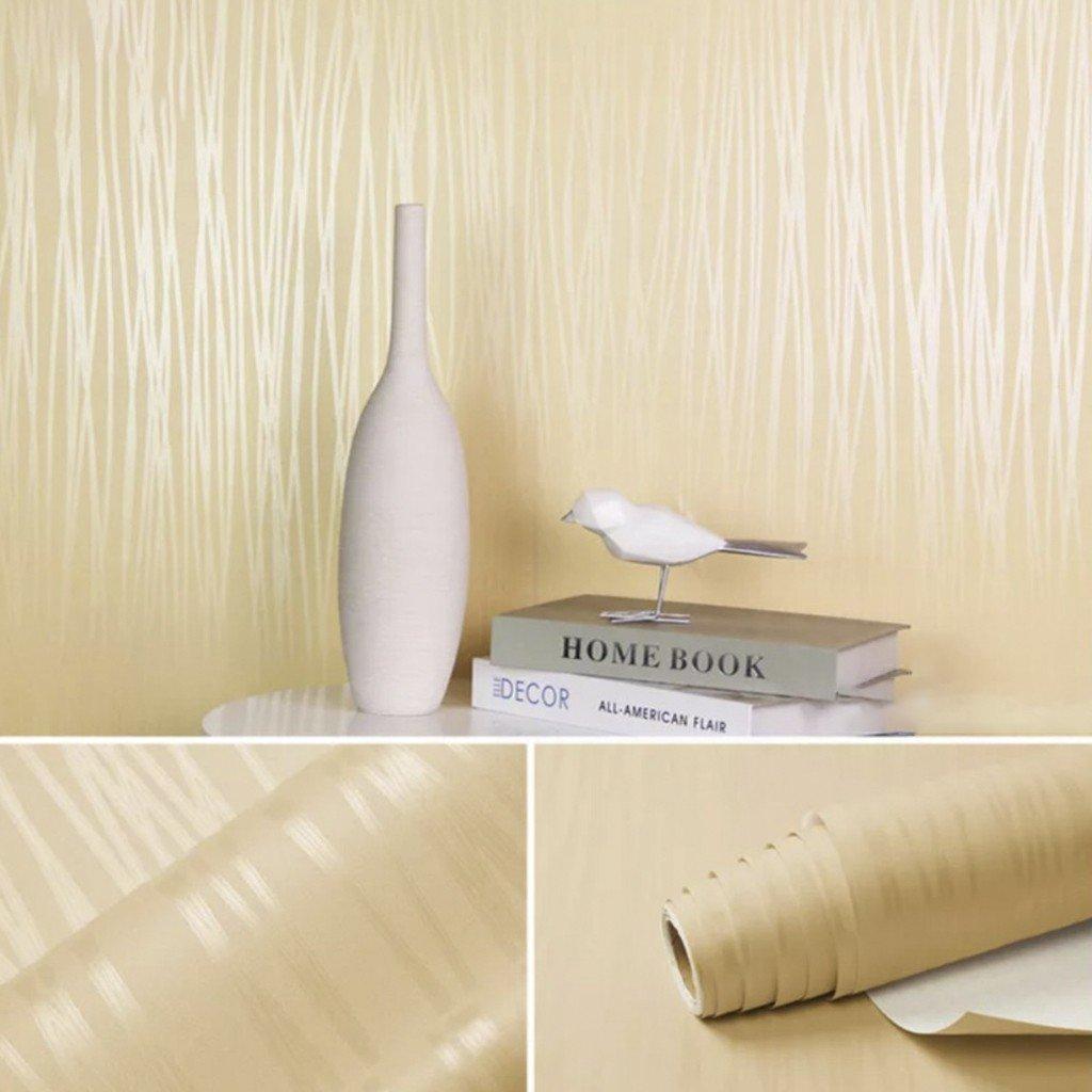 10m Giấy dán tường cuộn chỉ màu vàng khổ 0,45m