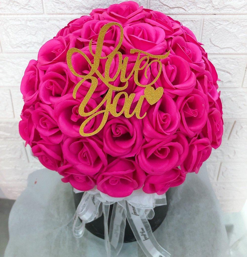 Chậu hoa hồng sáp thơm hồng rực (63 bông)