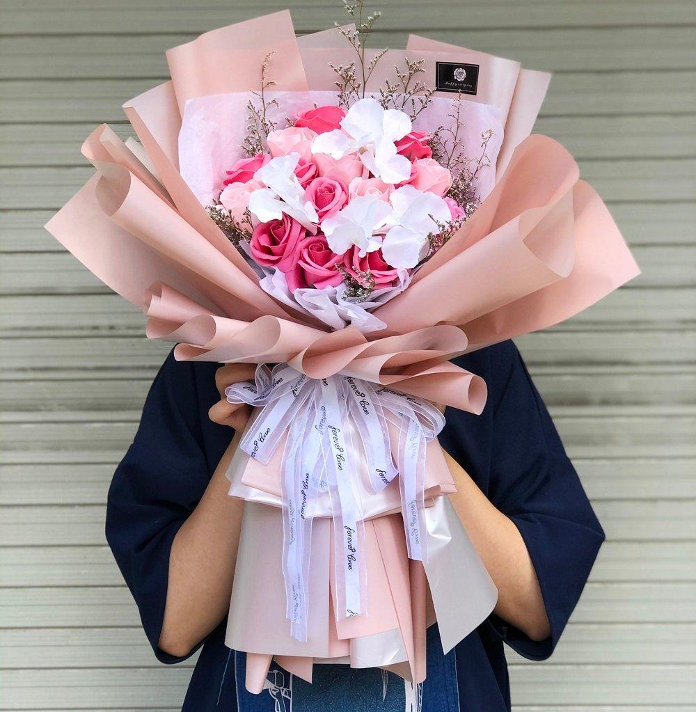 Combo bó hoa hồng sáp thơm pastel