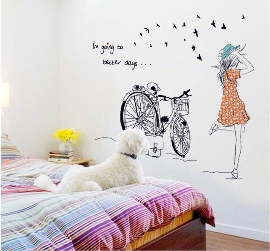 Decal dán tường Combo Hoa bồ công anh đen   Cô gái và xe đạp