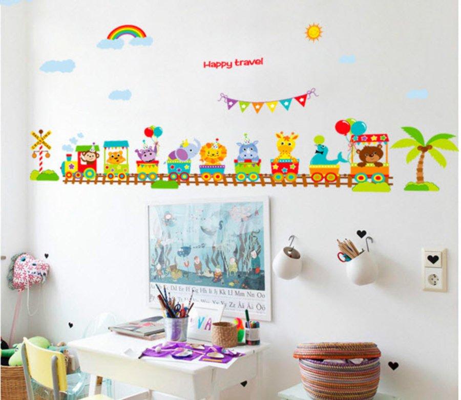 Combo dán tường vườn thú vui nhộn và đoàn tàu vui vẻ