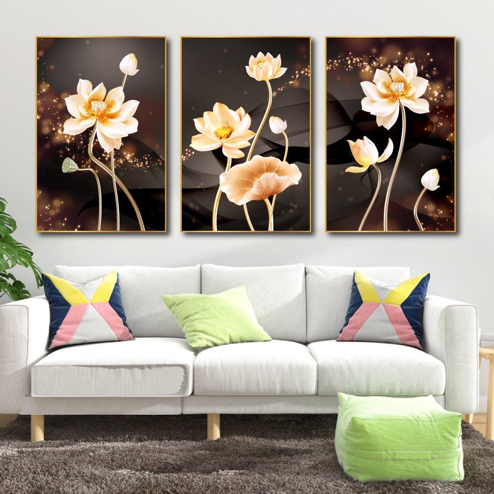 tranh treo tường hoa sen vàng