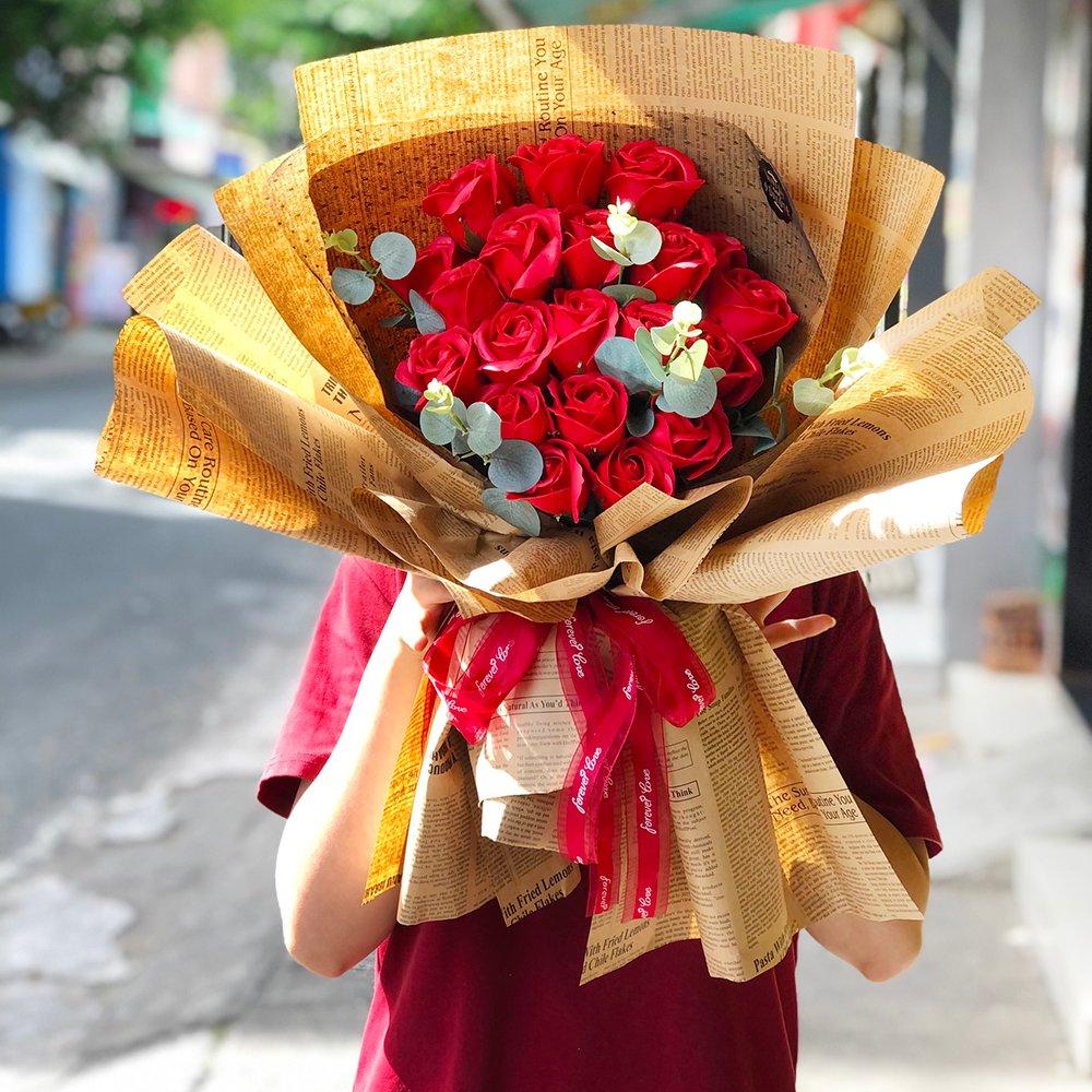 Bó hoa hồng sáp thơm to