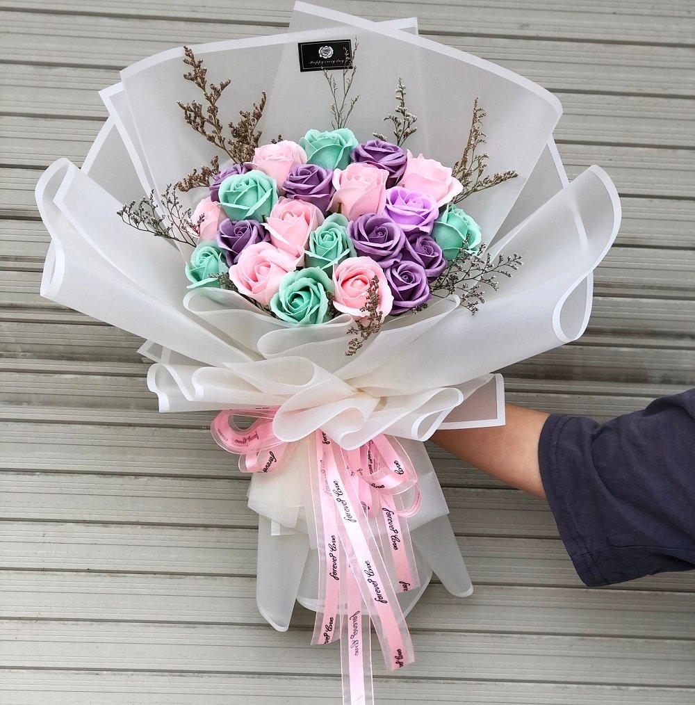 Bó hoa hồng sáp 20 bông - Lovely tam sắc