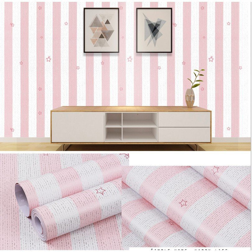10m giấy dán tường sọc trắng hồng họa tiết sao