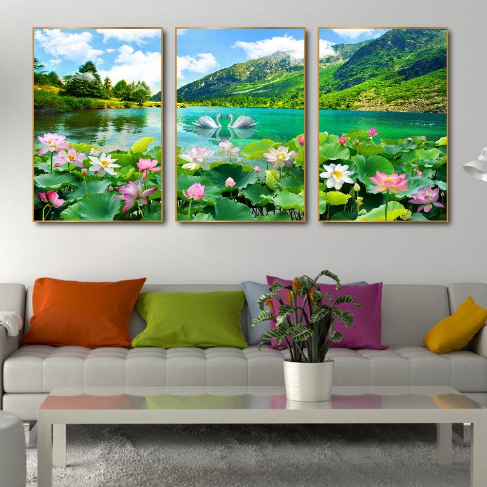 Tranh treo tường hồ sen hồng và thiên nga