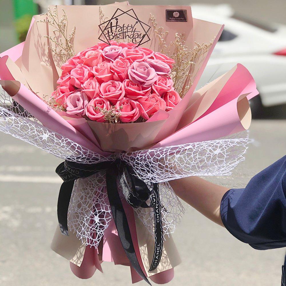 Bó hoa hồng sáp thơm tam sắc - Tặng kèm thiệp xinh