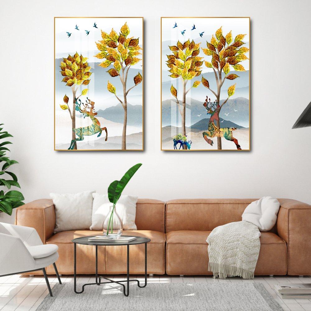 Tranh treo tường Đôi Hươu và cây xanh nghệ thuật 2 tấm