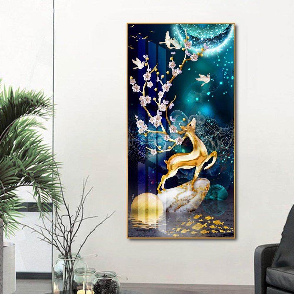 Tranh treo tường nghệ thuật hươu vàng dưới ánh trăng
