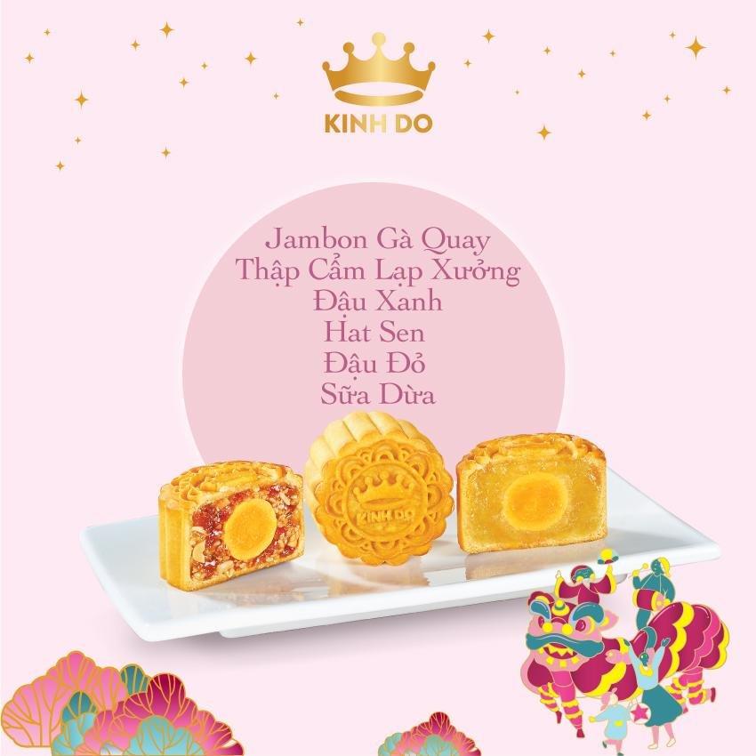 Hộp 6 Bánh Trung Thu Kinh Đô Mini - Hồng 80g/bánh