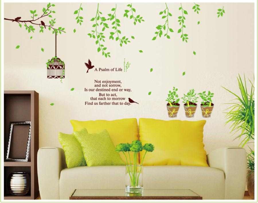 Cành cây xanh và lồng chim