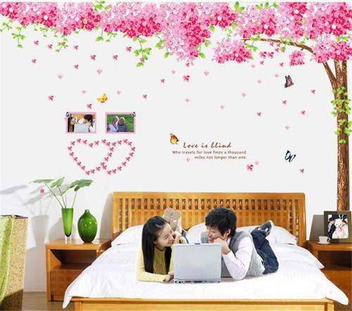 Decal dán tường cây đào hồng size 2 tấm