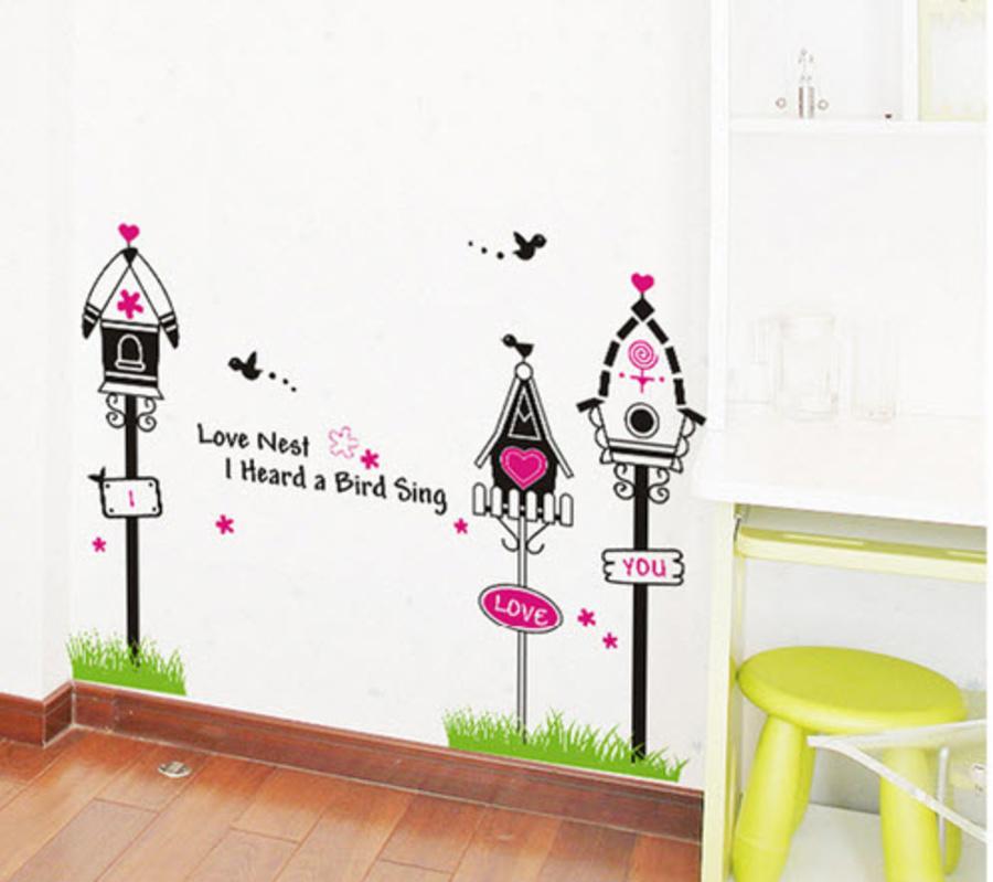 Decal dán tường tổ chim tình yêu