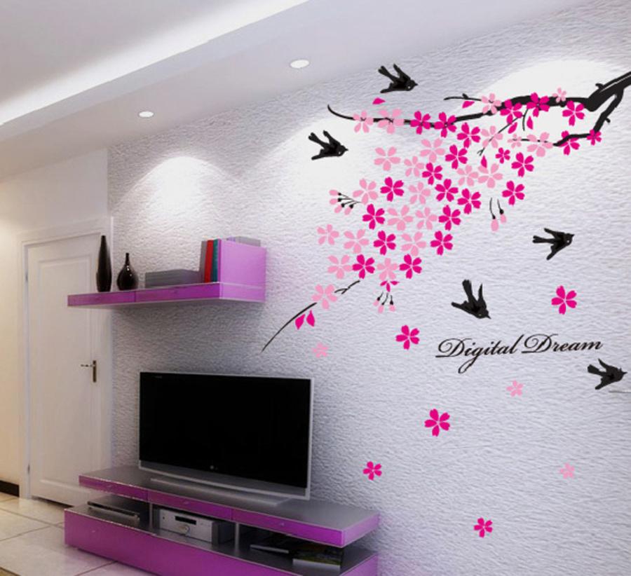 Cành đào hồng và chim én mùa xuân
