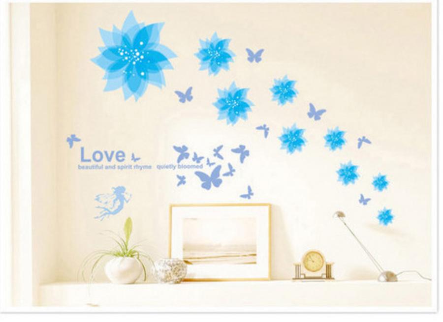 Decal dán tường họa tiết hoa xanh dương