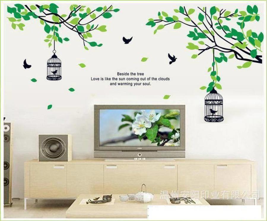Decal dán tường hai lồng chim xanh