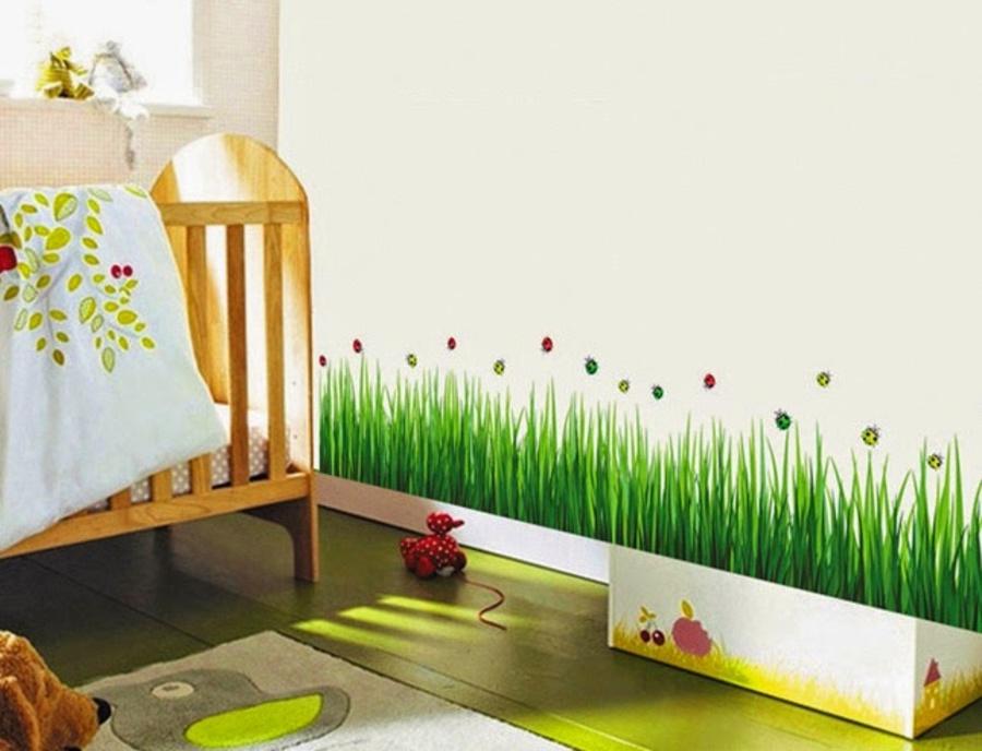 Decal dán chân tường cỏ xanh