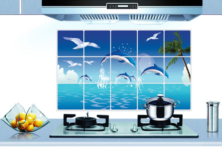 Dán bếp cá heo xanh