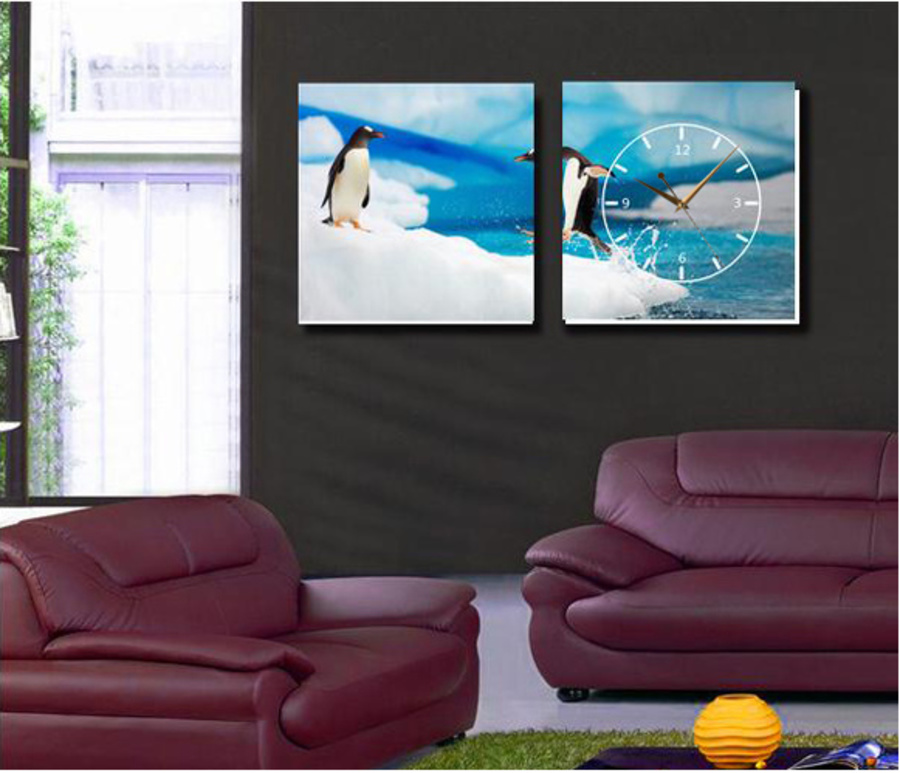 Tranh đồng hồ chim cánh cụt 2 tấm 25x25x2