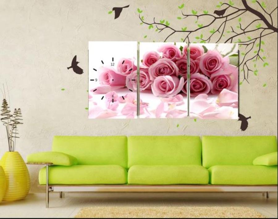 Tranh đồng hồ Hoa hồng 3 tấm 40x25x3