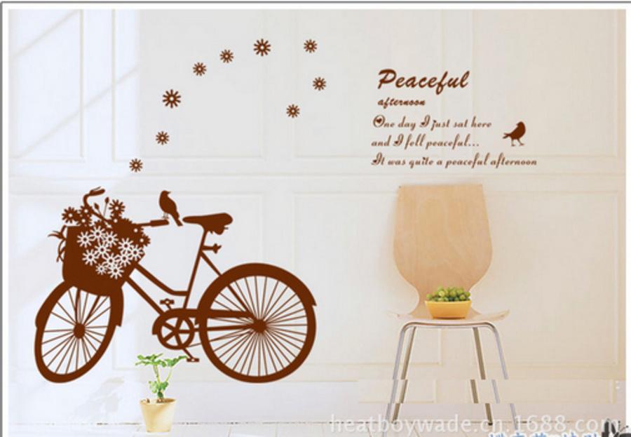 Decal dán tường xe đạp nâu