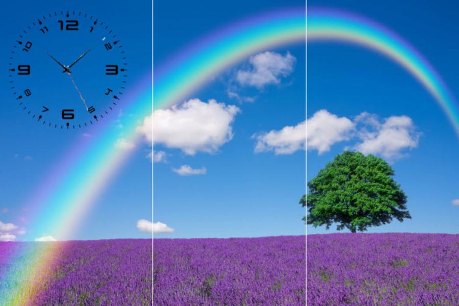 Tranh đồng hồ cánh đồng Lavender 3 tấm 40x25x3
