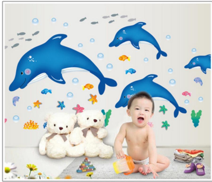 Decal dán tường đàn cá heo xanh nhỏ