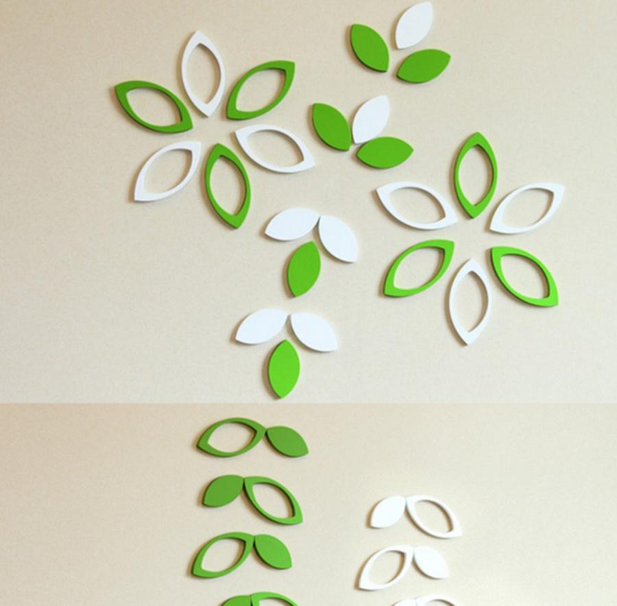 Họa tiết gỗ 3D hình lá (có xanh lá và trắng)