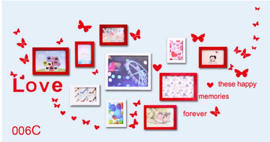 Decal bướm chữ love (có màu đen, nâu, xanh lá, đỏ, cam và hồng)