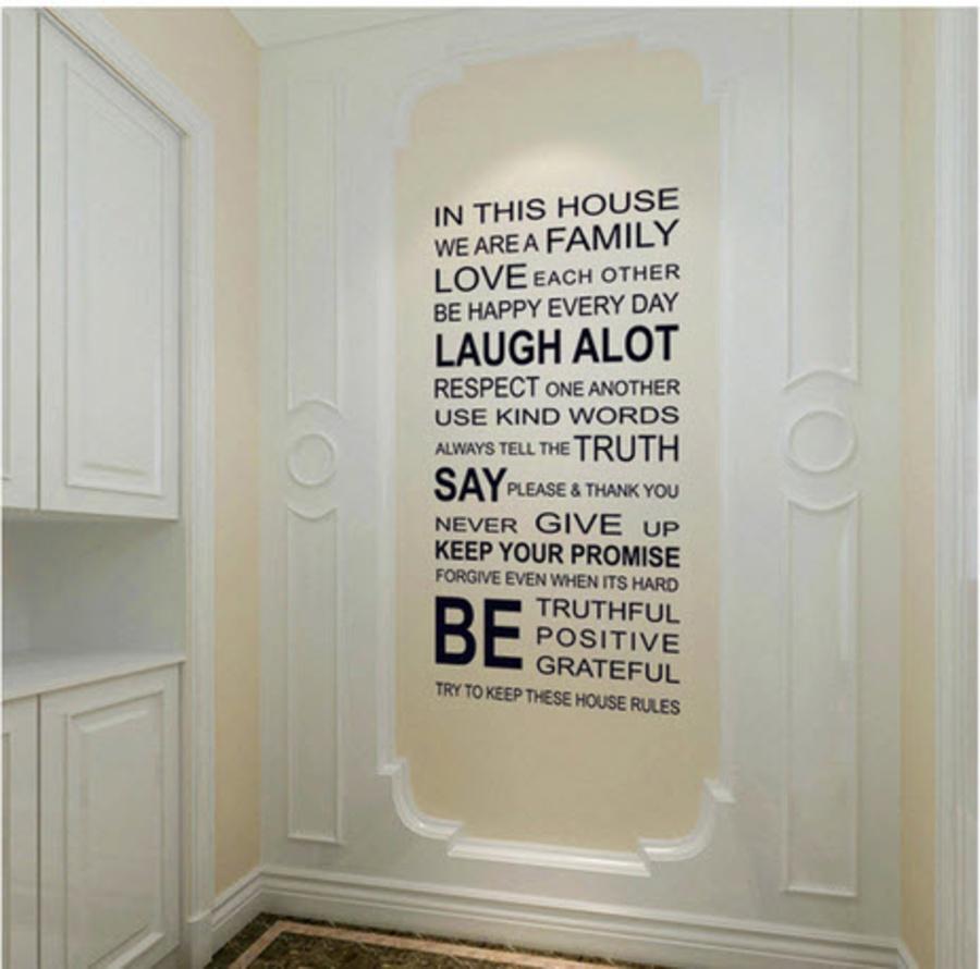 Giấy decal dán tường chữ trắng đen (In This house)