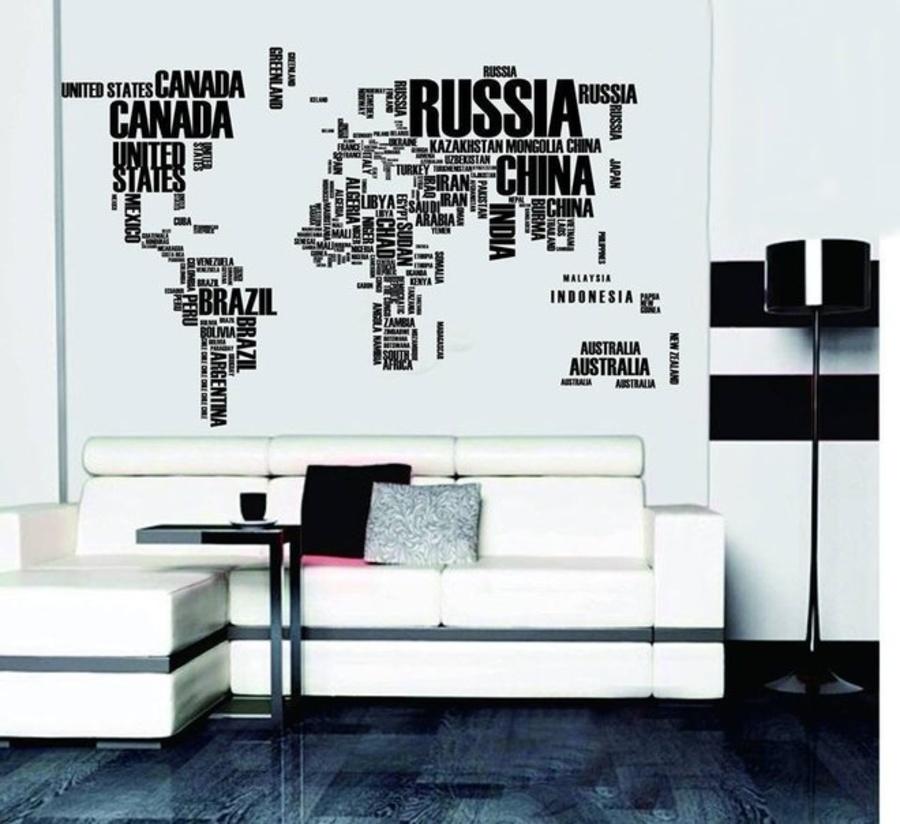 Decal dán tường bản đồ tên các nước to hiệu Zooyoo