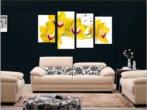 Tranh đồng hồ hoa lan vàng cách điệu