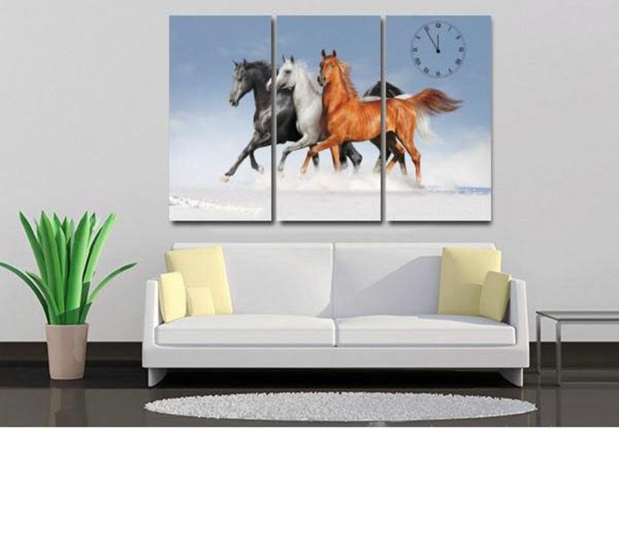 Tranh đồng hồ đàn ngựa 1 3 tấm 40x25x3