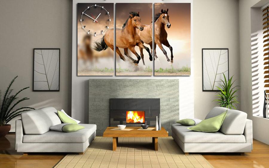 Tranh đồng hồ đàn ngựa 2 3 tấm 40x25x3