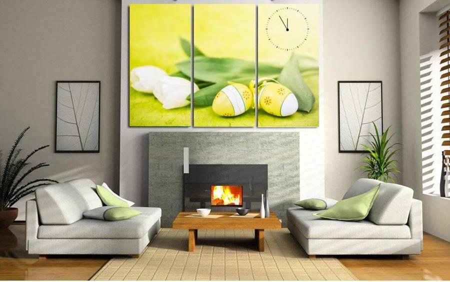 Tranh đồng hồ hoa tulip trắng