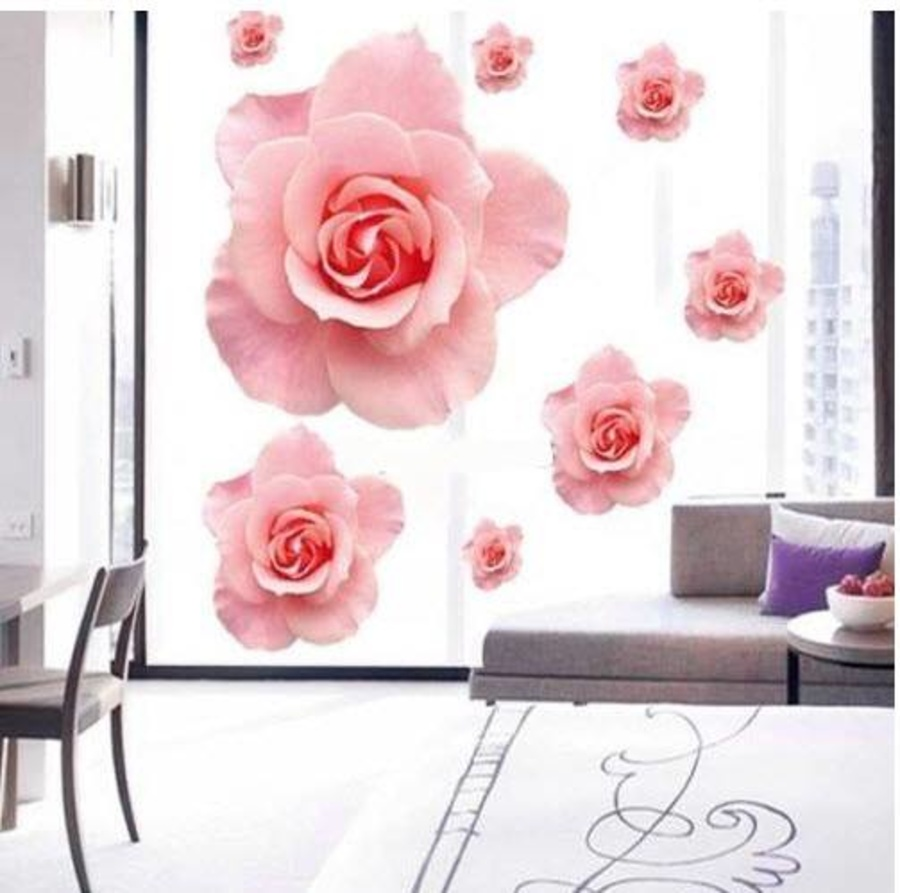 Decal dán tường hoa hồng tạo cảm giác 3D