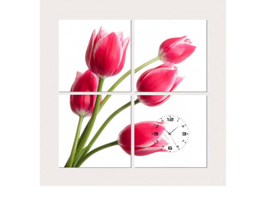 Tranh đồng hồ hoa tulip hồng (25x25x4)