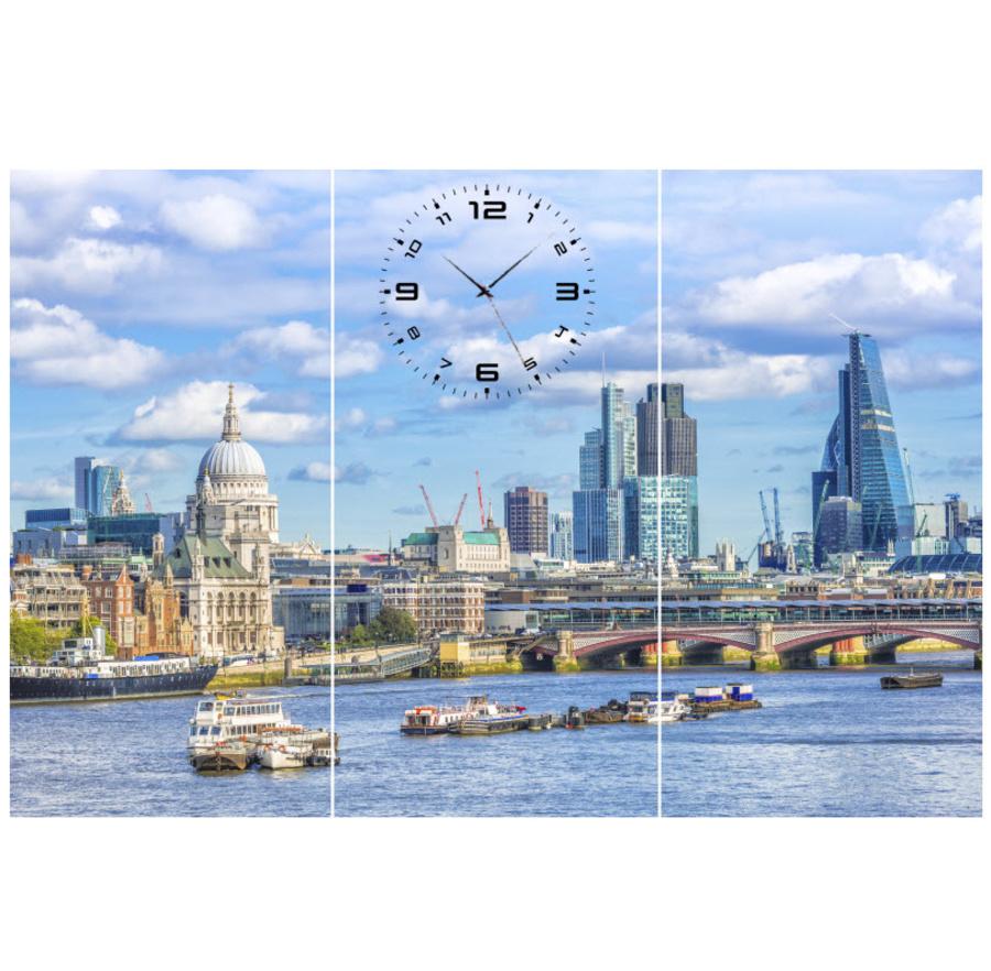 Tranh đồng hồ thành phố 1 3 tấm 40x25x3
