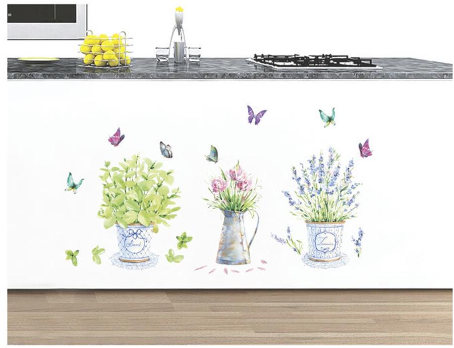 Decal dán tường ba bình hoa to