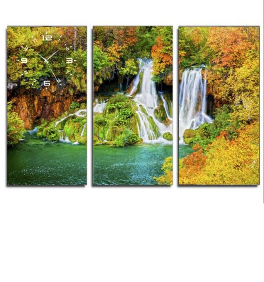 Tranh đồng hồ phong cảnh 2 3 tấm 40x25x3