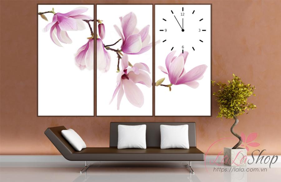 Tranh đồng hồ hoa lan hồng 3 tấm 40x25x3