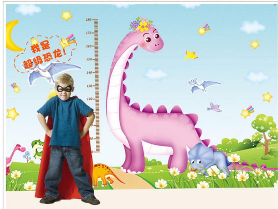 Decal dán tường thước đo khủng long to