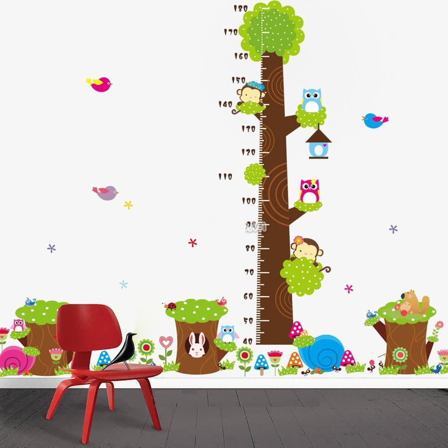 Combo decal dán tường thước đo 3 gốc cây xanh