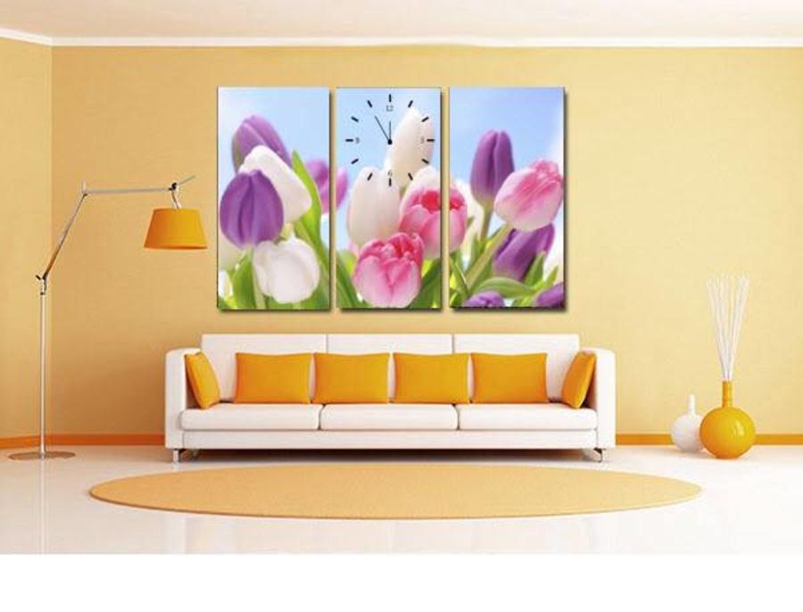 Tranh đồng hồ vườn hoa tulip 3 tấm 40x25x3