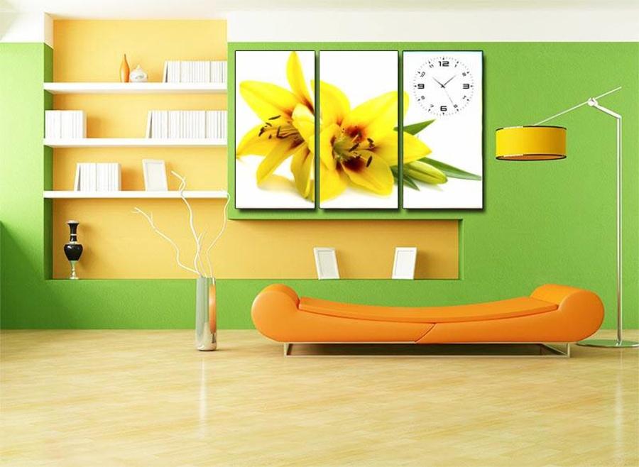 Tranh đồng hồ hoa loa kèn vàng 3 tấm 40x25x3