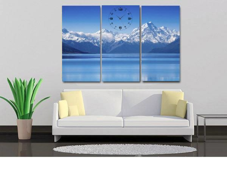 Tranh đồng hồ núi tuyết 3 tấm 40x25x3