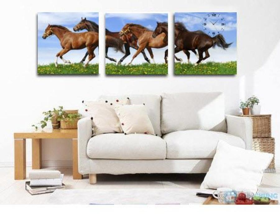 Tranh đồng hồ treo tường đàn ngựa 4